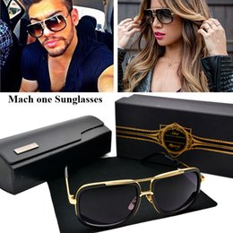 Wholesale HOT Brand sunglasses New model mach one Semi metal frame and K gold shinyplate collocation titanium summer style with case and box