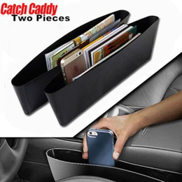 Wholesale Car Side Seat Organizer - 2PC Black Car Auto Accessories Seat Seam Storage Box Bag Phone Holder Organizer Free shipping