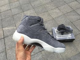 Wholesale Air Carbon - With Real Carbon Fiber Air Retro 11 PRM Grey Suede Men's Basketball Shoes for XI Sports Sneakers Size 40-47
