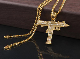 Wholesale Gun Charms Wholesale - 2017 HOT Hip Hop Necklaces Engraved Gun Shape Uzi Golden Pendant High Quality Necklace Gold Chain Popular Fashion Pendant Jewelry good
