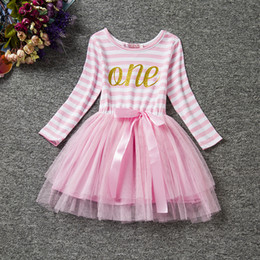 Wholesale birthday tutu outfits for girls - Wholesale- Winter2016 Children Baby Girls Cute A-Line 1st Birthday Party Costume Letter Tutu Princess Striped Dress For Girls Daily Outfits