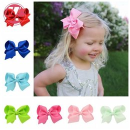 Wholesale Hiar Flower - Baby Girl Ribbon Bows Headband Infant Big Bowknot Hiar Clips Bows Accessories for Girls Kids Barrette Flowers Fashion Princess 20 Colors