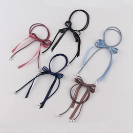 Wholesale Hair Beads For Girls - Lot 20 Pcs Women Bead Bow Ribbon Tassel Hair Band Rope Scrunchie Holder Gum For Hair Accessories Hairstyle Girl Headbands