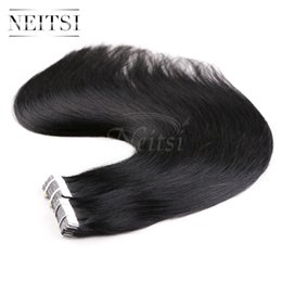 Wholesale Tape Hair Weaves - Neitsi 18'' 10Pccs lot 18g lot Tape in Brazilian Human Hair Extension Straight Highlight Color PU Skin Weft Hair Weave Hair Weft 8Colors