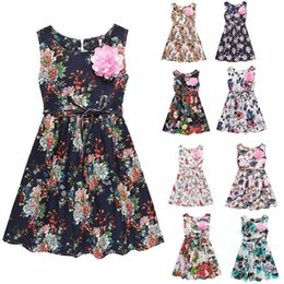 Wholesale Trumpet Bowknot - 2017 new summer floral girls dress sleeveless big girl sundress with flower brooch kids girl's skirts children outfits with bowknot 130-160