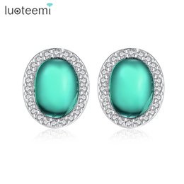 Wholesale Unique Pierced Earrings - LUOTEEMI Newest Unique Pink Green Cat Eye Stone Stud Earring Piercing Brincos for Women Vintage Jewellery Christmas Gifts Party