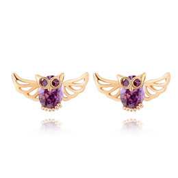 Wholesale Purple Costume Jewelry - Cute 18K Yellow Gold Plated Purple Cubic Zirconia CZ Owl Piercing Animal Stud Earrings Fashion Party Costume Jewelry Gift for Women