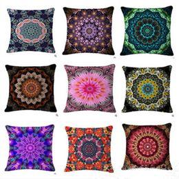 Discount linen flower cushion case - Bohemian Pillow Case Style Flower Mandala Cushion Cover Linen Pillow Covers Plant Sofa Car Seat Decorative Pillowcase Bedding Supplies