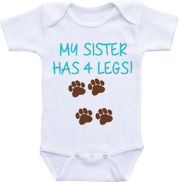 Wholesale Dog Onesie - Dog shirt Big brother My Sister has four legs Cotton Dress Boy Girl clothes 0-12M Newborn baby sleepsuit Working onesie New Dad  Mom