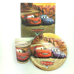 Wholesale Event Decoration Items - Wholesale-60pcs set 20 peoplethe car theme Plate cup and napkins for kids birthday party decoration,event party supplies favor items