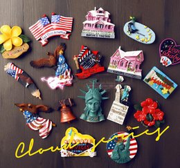 Wholesale Large Fridge Stickers - Statue Of Liberty New York USA Tourism Souvenir 3D Fridge Magnets Creative Home Decortion Refrigerator Magnetic Stickers Gift