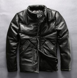 Wholesale Fashion Angels Winter Jackets - HARLEY ANGEL 2017 stand collar genuine leather jacket men winter down jacket black cowskin men's leather coat motorcycle jacket