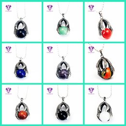 Wholesale Dragon Ball Beads - Natural Red stone Dragon Claw Pendant With 15MM Big Gem stone Crystal Ball beads Alloy Man Woman Pendant necklace Wholesale