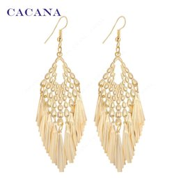Wholesale Bijouterie Earrings - CACANA Gold Plated Dangle Long Earrings For Women Tassel Skirt Style Top Quality Bijouterie Hot Sale No.A620A621