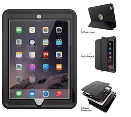 Wholesale Ipad Cases Waterproof - For Apple New iPad 9.7 2017 A1823 A1822 Shockproof Armor Hybrid Defender Kickstand Case Cover W  Bulit-in Front Protective case