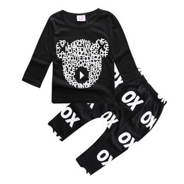 Wholesale Set Little Bear - ins hot sale baby spring autumn clothes sets boys cute cartoon little bear long sleeve t shirt with matching long pants 2pcs sets