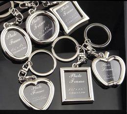 Wholesale Metal Photo Frame Pendant - 6 models photo frame keychain alloy locket lover picture key chain key rings heart apple pendants for women men anniversary present 240241