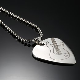 Wholesale Silver Guitar Picks - Guitar Pick Necklace with 50cm 20in Ball Chain Silver Color Stainless Steel High Quality Guitar Parts and Accessories