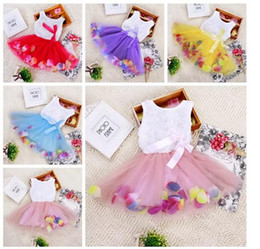 Wholesale Baby Girls Lace Rose Dress - Baby Princess girls flower dress 3D rose flower baby girl tutu dress with colorful petal lace dress Bubble Skirt baby clothes L004