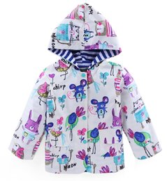 Wholesale Boys Hooded Raincoat - 2017 Boys Girls Childrens Outwear Windproof Rrainproof Raincoat Clothing Cute Graffiti Hoodies Spring Autumn Kids Sweatshirts Enfant Clothes