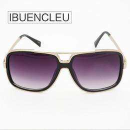 Wholesale Lunette Steampunk - IBUENCLEU Sunglasses Men Brand Designer Gold Square Frame Oversize Vintage Womens Sun Glasses Steampunk Black Style Lunette de Soleil 96957