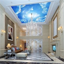 Wholesale Insulation Interior Walls - Wholesale- photo wallpaper clouds sky blue and white wall paper interior ceiling Top lobby living room conference wall mural wallpaper-3d