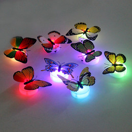 Wholesale Babies Night Lights - Wholesale- Flashing Lamps For Wedding baby Room LED Night Light ABS Colorful Butterfly Home Decoration With Double-sided adhesive sticker