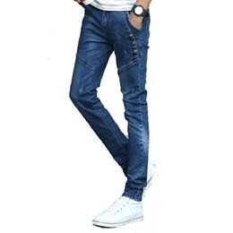 Wholesale Modern Clothing Patterns - Wholesale- 2016 spring male pockets blue jeans men's clothing trend slim small trousers male casual pencil pants Large size 27-36