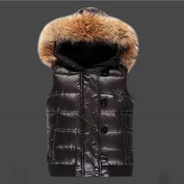 Wholesale Raccoon Fur Vest Women - M171 women winter vest gillets Brand UK popular gilets Jacket Body Warmer Warm Down anorak parka jacket Real Raccoon Fur Collar
