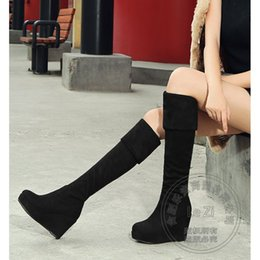Wholesale Korean Wedges - Fold Over Flock Wedge Korean Casual Big Size Round Toe 2016 Short Plush High Heel Womens Boots Winter 2015 Pull On Stretch
