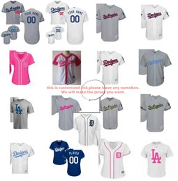 Wholesale Boys Cool Shirt - 2017 Male Girls Boys Toddle Custom LA Dodgers stars&stripes father memorial mother cool flex baseball jerseys  T-shirts White Navy Grey Pink