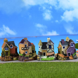 Wholesale Fairy Garden Cottage - 4 Designs Cute Mini Resin House Villa Miniatures Cottage Figurine Moss Fairy Garden Crafts DIY Micro Landscape Home Garden Decoration