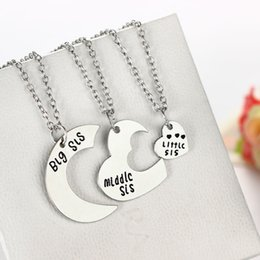 Wholesale Litter Fashion - Wholesale-Big Middle Litter Sis Pendant Necklace Best Gifts Family Fashion Party Sister Jewelry silver Necklaces Women Charm Souvenirs