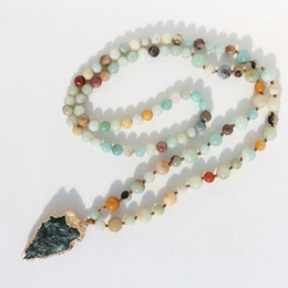 Wholesale Rosary Necklace Plastic - Fancy Scandal Amazonite Stones Rosary Chain Arrowhead Pendant Mala Necklace Handmade Women Natural Stone Bead Long Necklace