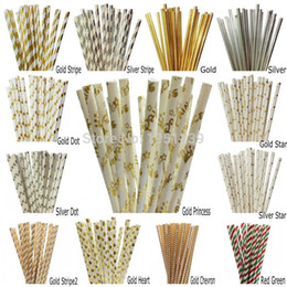 Wholesale Wholesale Party Straws - Wholesale-25pcs lot Foil Gold Silver Paper Straws For Birthday Party Decorations Kids & Wedding Decoration Party Supplies Creative Straws