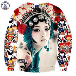 Wholesale Ladies Sweatshirt New - Hip Hop New arrivals Men women's 3d sweatshirts print Beijing opera Theater actors crying Tattoo lady hoodies pullovers