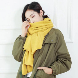 Wholesale Wool Scarf Large - Winter Warm Womens Scarf Plain Color Large Long Wool Knitted Pashmina Neck Wraps Shawl Blanket 200cm*30cm