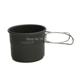 Al por mayor-Alocs Ultraligero Óxido de Aluminio Botella de Agua Copa con Manijas Plegables para Acampar Cocina Caminar Picnic Cookwares TW-402 desde fabricantes