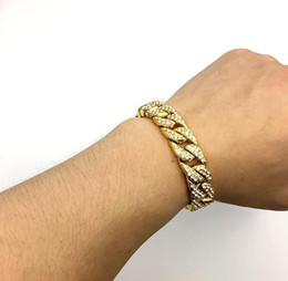 Wholesale Hip Mens Bracelets - Mens Luxury Simulated Diamond Cuban link Bracelet High Quality Gold Plated Miami Cuban Bracelet for men Hip Hop Jewelry