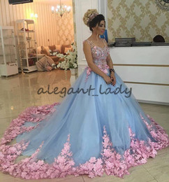 Wholesale girls dresses 15 years - Baby Blue 3D Floral Masquerade Ball Gowns 2017 Cathedral Train Handmade Flower Debutante Quinceanera Dresses Sweety Girls 15 Years Dress