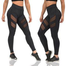 Wholesale women sports leggings - 1pcs 2017 Four Seasons sport yoga pants Women Leggings openwork perspective stitching sports fitness running sexy pants Leggings AP192