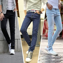 Wholesale Boys Size Skinny Jeans - Wholesale-new2016 male trousers slim pencil pants boys jeans skinny pants casual trousers men jeans