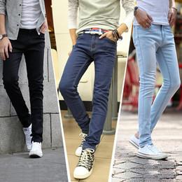 Wholesale Yellow Boys Trousers - Wholesale-new2016 male trousers slim pencil pants boys jeans skinny pants casual trousers men jeans