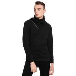 Wholesale Korean Turtle Neck Sweaters - Hot sale New Fashion Korean Punk Style Zipper Pullover Men thermal Sweater Casual Long Sleeve Knitwear