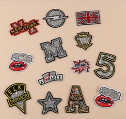 Wholesale Sewing Letters - New Number 5 Letter M UK flag embroidered patches for sewing Bag clothing patches iron on sewing accessories applique