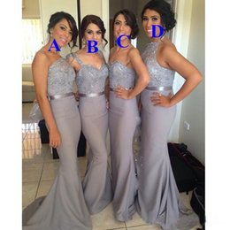 Wholesale Grey Sash For Bridesmaids Dresses - cheap Grey Bridesmaid Dresses Sexy Mixed Styles Lace satin Dresses For Maid of Honor Custom Made Evening Gowns Long Prom Dress