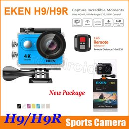 Wholesale Camera Remote Control Wholesale - Action camera Original EKEN H9 H9R with remote control Ultra HD 4K WiFi HDMI 1080P 2.0 LCD 170D pro Sports camera waterproof with retail box