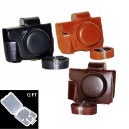 Wholesale Mark Pu Leather - PU Leather Camera cases covers bag for Olympus EM10 E-M10 Mark II 2 with Removable Hard Alloy Bases Tripod Screw Shoulder Strap