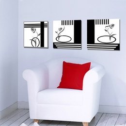 Wholesale Large Art Work - Large Modern 3 Panels Black White Abstract Flower Landscape Giclee Canvas Print Wall Art Work For Living Room Kitchen Home