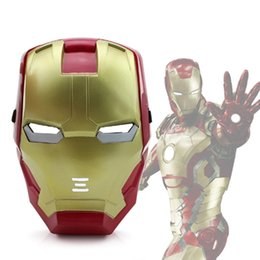 Wholesale Iron Materials - LED Mask Halloween Masquerade Iron Man 3 Patriot Luminous Helmet Mask PP Material Decoration Christmas Toy LED Glow Kid Adult Face
